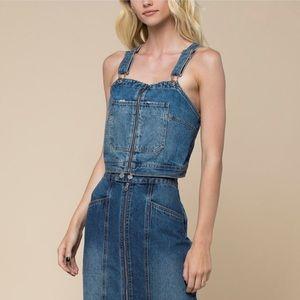 Juicy Couture Zip Front Denim Crop Top